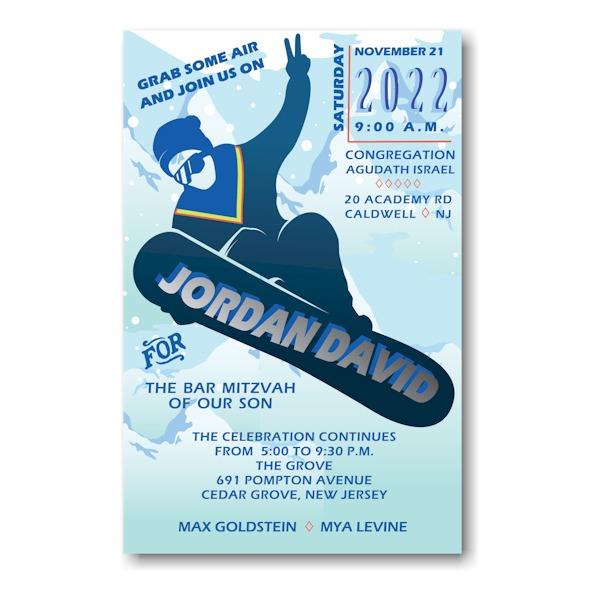 Snowboarding Bar Mitzvah Invitation