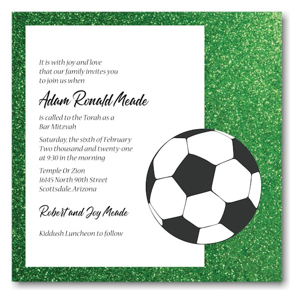 For Kicks Soccer Bar Mitzvah Invitation