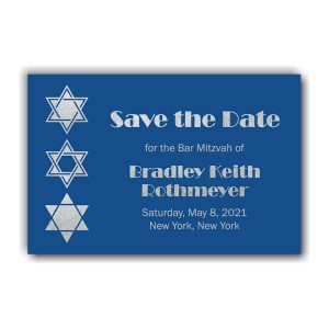 Classic Blue Save the Date Card Front