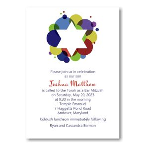 Festive Star Bar Mitzvah Invitation