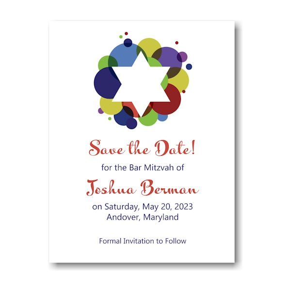 Festive Star Bar Mitzvah Save the Date Card