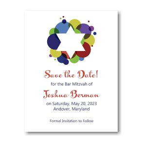 Festive Star Bar Mitzvah Save the Date Magnet