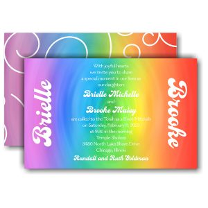 Rainbow Swirl Bnot Mitzvah Invitation Icon