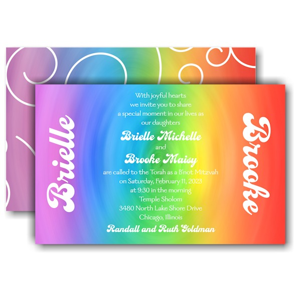 Rainbow Swirl B'not Mitzvah Invitation