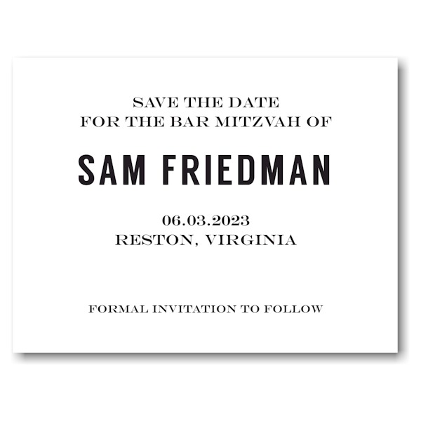 Simply Bold Save the Date Card Front