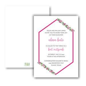 Spring Floral Hexagon Frame Bat Mitzvah Invitation Sample