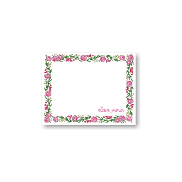 Spring Floral Hexagon Note Card