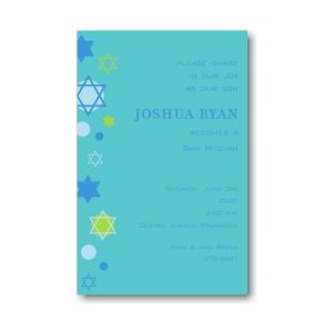 Stars of David Blue Bar Mitzvah Invitation Sample