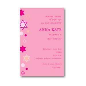 Stars of David Pink Bat Mitzvah Invitation Icon