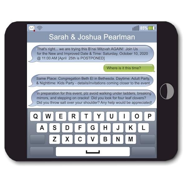 Texting Postponement Card Sample