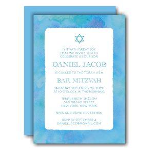 Blue Watercolor Border Bar Mitzvah Invitation Icon