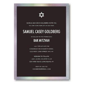 Bold Foil Border Bar Mitzvah Invitation Icon