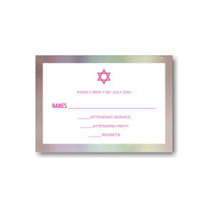 Boldest Foil Border Bat Mitzvah Response Card