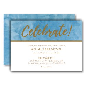 Celebrate Bold Foil Bar Mitzvah Invitation