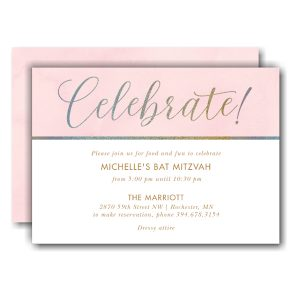 Celebrate Elegant Foil Bat Mitzvah Invitation