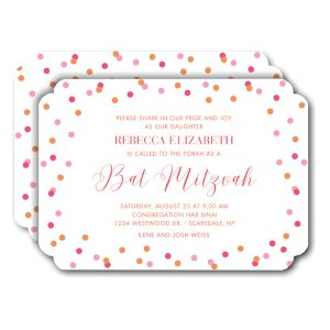 Colorful Confetti Bat Mitzvah Invitation Icon