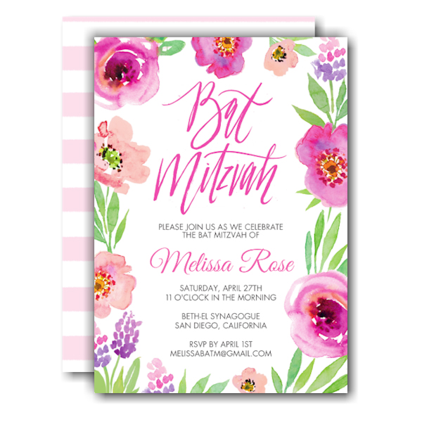 Floral Bat Mitzvah Invitation