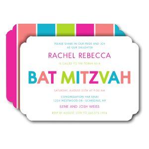 Fun Stripe Bat Mitzvah Invitation Icon