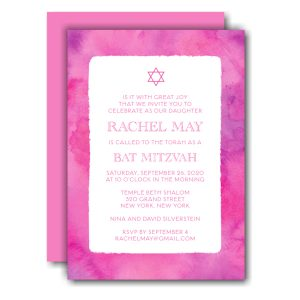 Pink Watercolor Border Bat Mitzvah Invitation Icon