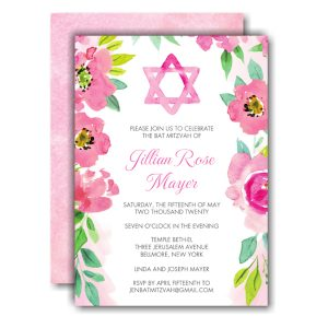 Watercolor Star of David Bat Mitzvah Invitation Icon