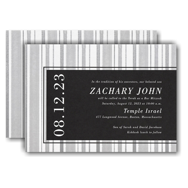 Faded Lines Bar Mitzvah Invitation