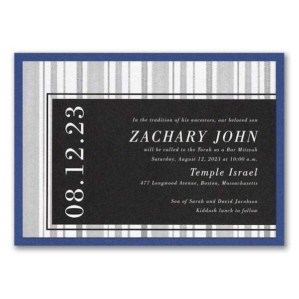 Faded Lines Layered Bar Mitzvah Invitation