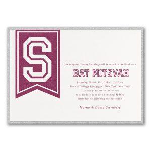 Initial Banner Layered Bat Mitzvah Invitation Icon