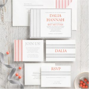 Side Patterned Layered Bat Mitzvah Invitation alt