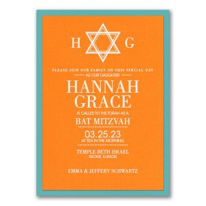 Solid Tradition Layered Bat Mitzvah Invitation Icon