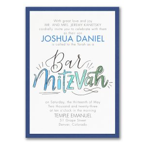Watercolor Expressions in Blue Layered Bar Mitzvah Invitation Icon