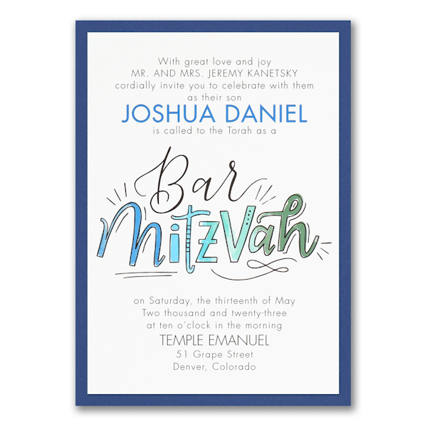 Watercolor Expressions in Blue Layered Bar Mitzvah Invitation