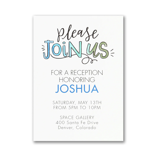 Watercolor Expressions in Blue Reception Card
