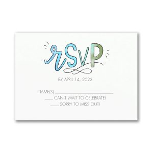 Watercolor Expressions in Blue Response Card