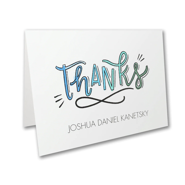Watercolor Expressions in Blue Thank You Note