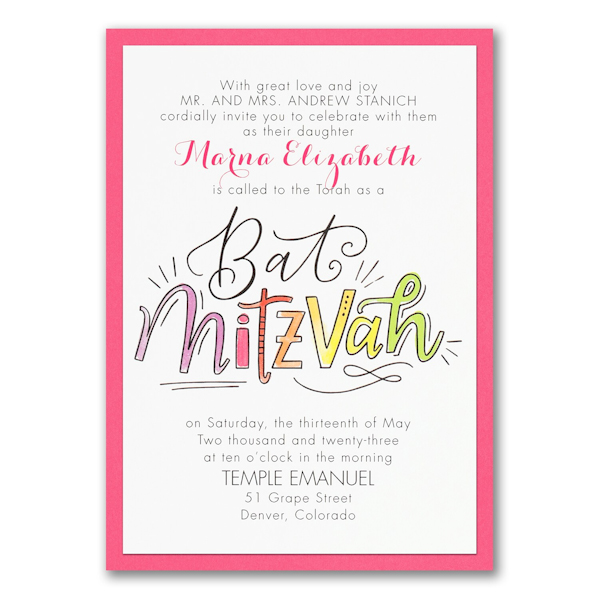 Watercolor Expressions in Pink Layered Bat Mitzvah Invitation