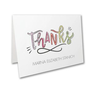 Watercolor Expressions in Pink Thank You Note