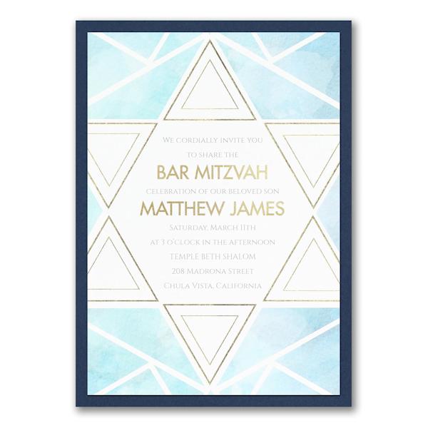 Watercolor Star of David Layered Bar Mitzvah Invitation