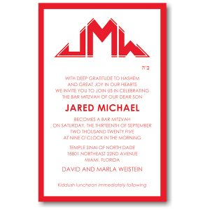 Initialed Elegance in Red Bar Mitzvah Invitation Icon