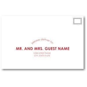 Initialed Elegance in Red Guest Addressing Envelope