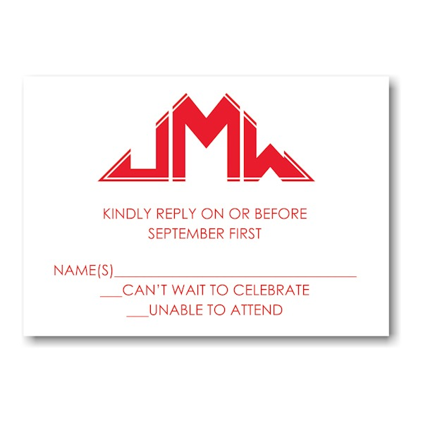 Initialed Elegance in Red Response Card