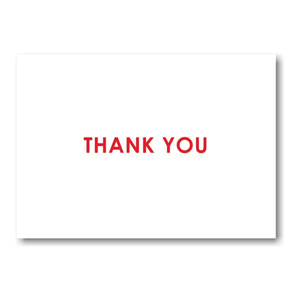 Initialed Elegance in Red Thank You Note