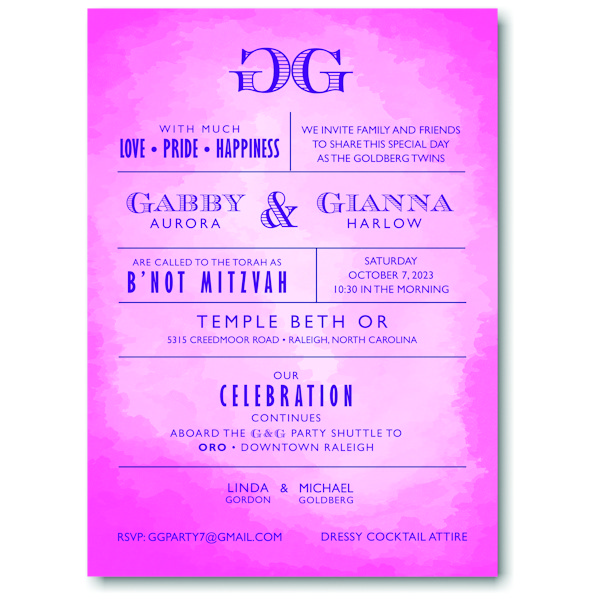 Modern Watercolor in Pink Bnot Mitzvah Invitation Icon