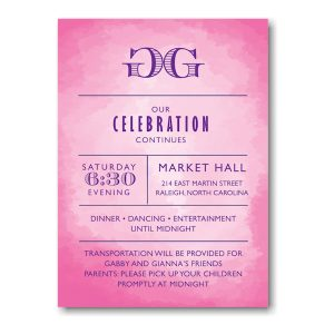 Modern Watercolor in Pink Reception Card