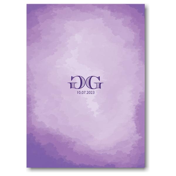 Modern Watercolor in Purple Bnot Mitzvah Invitation Backside