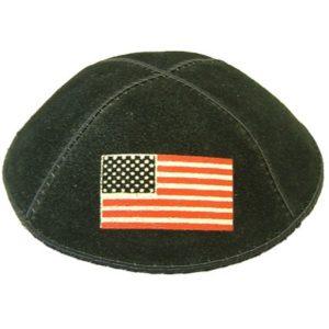 American Flag on Black Yarmulke