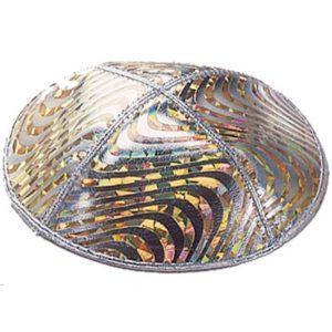 Elegant Multicolor Waves Design Silver Yarmulke
