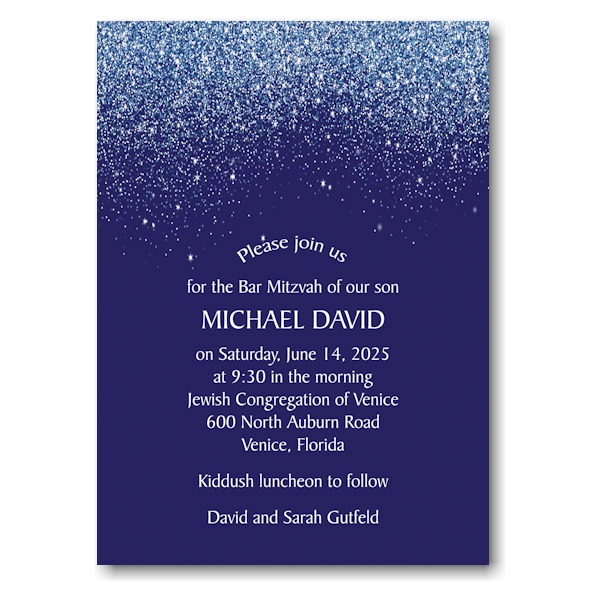 Falling Stardust Bar Mitzvah Invitation