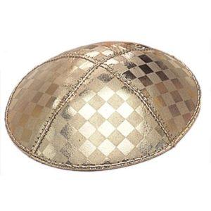 Gold Square Tile Pattern Design Yarmulke