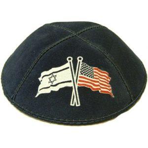 Israeli and American Flag on Black Yarmulke