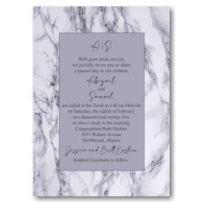 Modern Marble Bnai Mitzvah Invitation